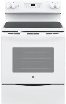 "GE JB645DKWW - 30"" Freestanding Electric Range in White with 4 Smoothtop Burners and 5.3 cu. ft. Oven"