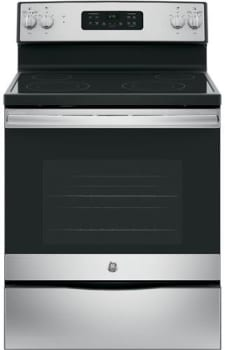 "GE JB645RKSS - 30"" Freestanding Electric Range in Stainless Steel with 4 Smoothtop Burners and 5.3 cu. ft. Oven"