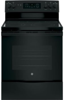 "GE JB655DKBB - 30"" Freestanding Electric Range in Black with 5 Smoothtop Elements and 5.3 cu. ft. Self-Cleaning Convection Oven"