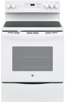 "GE JB655DKWW - 30"" Freestanding Electric Range in White with 5 Smoothtop Elements and 5.3 cu. ft. Self-Cleaning Convection Oven"