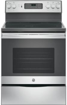 "GE JB655K - 30"" Freestanding Electric Range in Stainless Steel with 5 Smoothtop Elements and 5.3 cu. ft. Self-Cleaning Convection Oven"