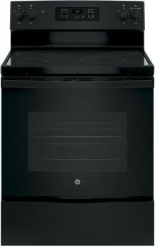 "GE JBS60DKBB - 30"" Freestanding Electric Range in Black with Ceramic Glass Cooktop and 5.3 cu. ft. Oven"