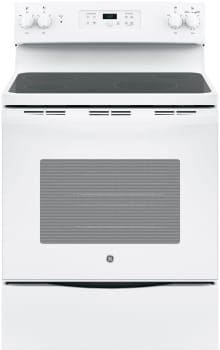 "GE JBS60DKWW - 30"" Freestanding Electric Range in White with Ceramic Glass Cooktop and 5.3 cu. ft. Oven"