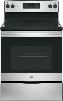 "GE JBS60RD - 30"" Freestanding Electric Range in Stainless Steel with Ceramic Glass Cooktop and 5.3 cu. ft. Oven"