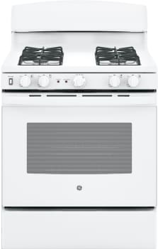 "GE JGB450DEKWW - 30"" Freestanding Gas Range in White with 5.0 cu. ft. Oven"