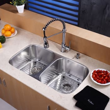 "Kraus Kitchen Combo Series KBU22KPF1612KSD30CH - 32"" Doulbe Bowl Stainless Steel Sink"