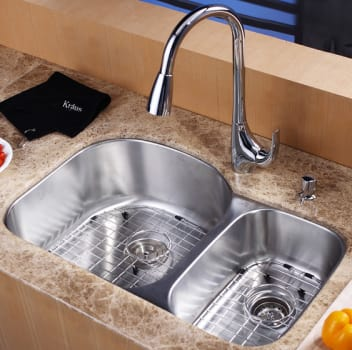 "Kraus Kitchen Combo Series KBU23KPF1621KSD30CH - 32"" Undermount Stainless Steel Sink"