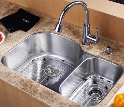 "Kraus Kitchen Combo Series KBU23KPF2220KSD30CH - 32"" Undermount Stainless Steel Sink"
