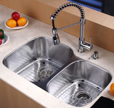 Kraus Kitchen Combo Series KBU24KPF1612KSD30CH - Kitchen Sink and Faucet Combo