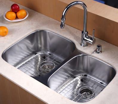 Kraus Kitchen Combo Series KBU24KPF1622KSD30CH - Kitchen Sink and Faucet Combo