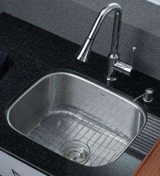 Kraus Kitchen Combo Series KBU11KPF1650KSD30CH - Single Bowl Stainless Steel Sink
