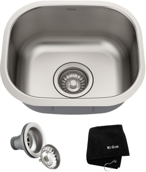 Kraus Kbu17 15 Inch Undermount Stainless Steel Single Bowl Bar Sink