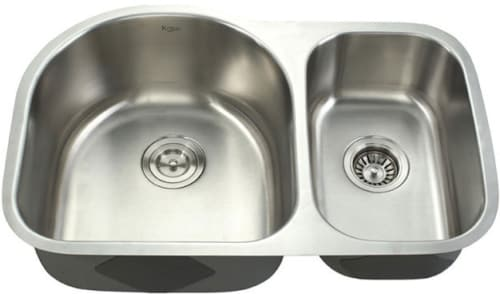 Kraus KBU21 30 Inch Undermount 60/40 Double Bowl Kitchen Sink with ...