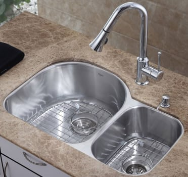 Kraus Kitchen Combo Series KBU21KPF1650KSD30CH - Double Bowl Stainless Steel Sink