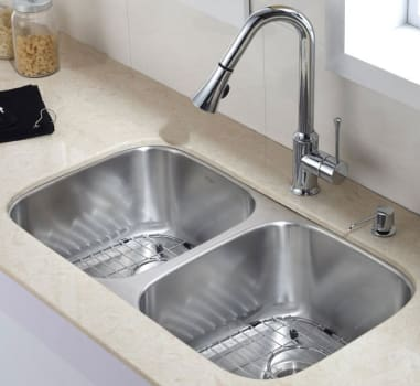"Kraus Kitchen Combo Series KBU22KPF1650KSD30CH - 32"" Double Bowl Sink with Faucet and Dispenser"