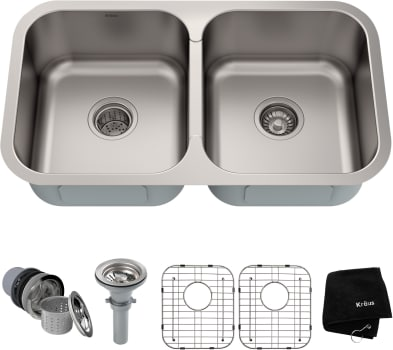 Kraus KBU29 32 Inch Premier Undermount Double Bowl Kitchen Sink Kit on kohler undermount sink kit, sink drain kit, sink undermount installation kit,