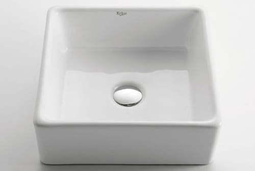 Kraus KCV120CH 15 Inch White Square Ceramic Sink with 5 1/5 Inch ...