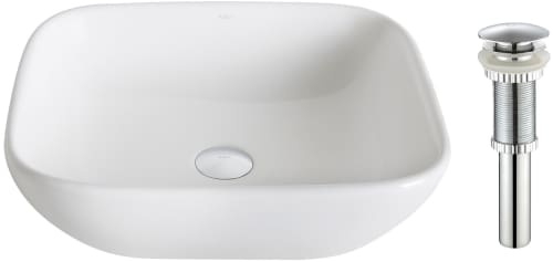 "Kraus Elavo Series KCV127CH - 16.14"" Single Bowl Ceramic Vessel Sink with 5.51"" Depth"