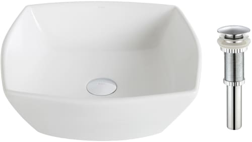 "Kraus Elavo Series KCV126CH - 16.5"" Top Mount Single Bowl Vessel Sink with 5.5"" Depth with Chrome Drain"