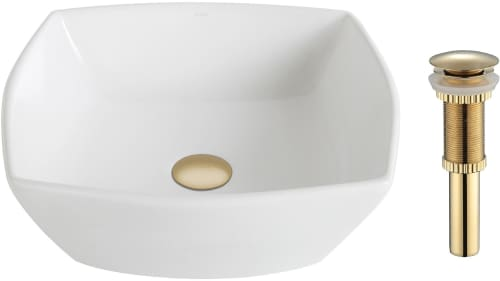 "Kraus Elavo Series KCV126G - Gold Drain 16.5"" Top Mount Single Bowl Vessel Sink with 5.5"" Depth"