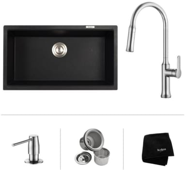 "Kraus Nola Series KGU413B163042 - 31"" Undermount Single Bowl Sink with Pull-Down Kitchen Faucet, Soap Dispenser, Basket Strainer and Kraus Towel"