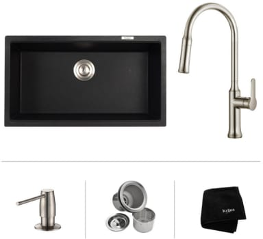 "Kraus Nola Series KGU413B163042SS - 31"" Undermount Single Bowl Sink with Pull-Down Kitchen Faucet, Soap Dispenser, Basket Strainer and Kraus Towel"