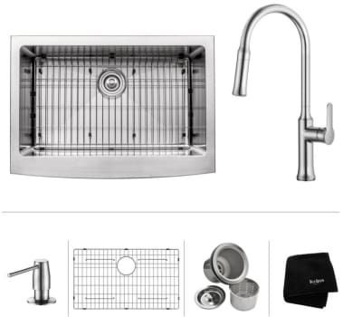 "Kraus KHF20030163042CH - 30"" Apron Front Single Bowl Sink with Pull-Down Kitchen Faucet, Soap Dispenser, Dish Grid, Drain and Kraus Towel"