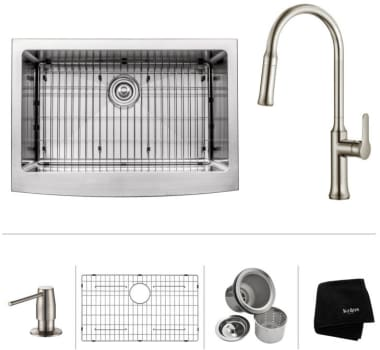 "Kraus KHF20033163042SS - 30"" Apron Front Single Bowl Sink with Pull-Down Kitchen Faucet, Soap Dispenser, Dish Grid, Drain and Kraus Towel"