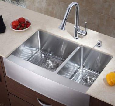 Kraus Kitchen Combo Series KHF20336KPF1650KSD30CH - Double Bowl Stainless Steel Sink