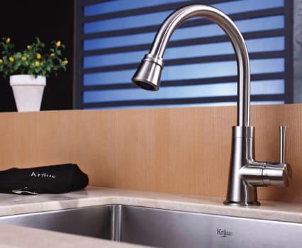 Kraus Kitchen Combo Series KHU10123KPF2220KSD30SN - Satin Nickel Faucet