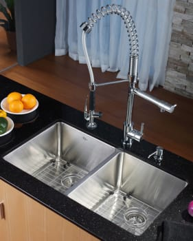 Kraus Kitchen Combo Series KHU10233KPF1602KSD30CH - Kitchen Sink and Faucet Combo