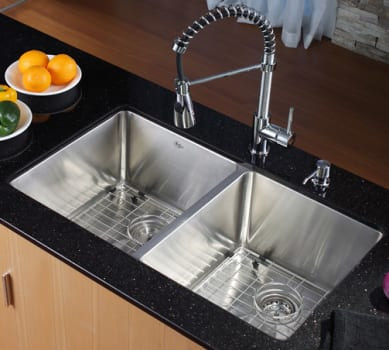 "Kraus Kitchen Combo Series KHU10233KPF1612KSD30CH - 33"" Farmhouse Double Bowl Sink"