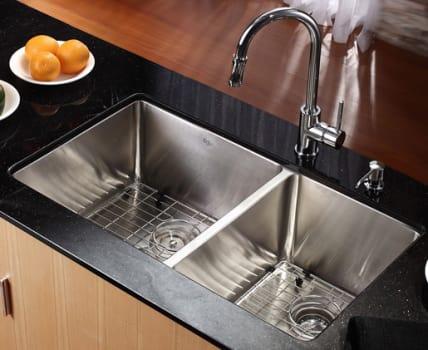 """Kraus Kitchen Combo Series KHU10233KPF1622KSD30CH - 33"""" Farmhouse Double Bowl Sink"""