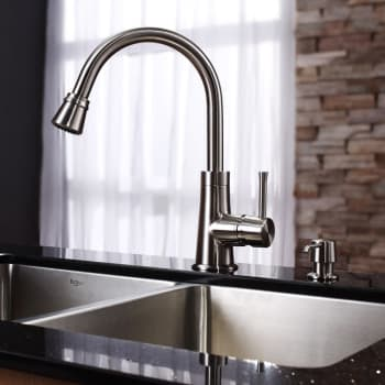 Kraus Kitchen Combo Series KHU10233KPF2220KSD30SN - Satin Nickel Faucet