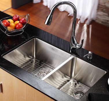 Kraus Kitchen Combo Series KHU10333KPF1621KSD30CH - Kitchen Sink and Faucet Combo