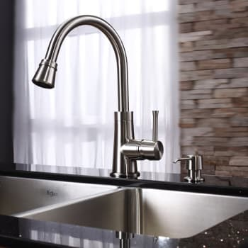 Kraus Kitchen Combo Series KHU10333KPF2220KSD30SN - Satin Nickel Faucet