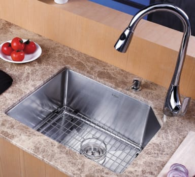 "Kraus Kitchen Combo Series KHU12123KPF1621KSD30CH - 23"" Stainlesss Steel Sink"