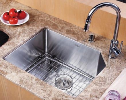 "Kraus Kitchen Combo Series KHU12123KPF1622KSD30CH - 23"" Stainlesss Steel Sink"