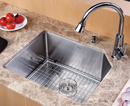"Kraus Kitchen Combo Series KHU12123KPF2220KSD30CH - 23"" Stainlesss Steel Sink and Pull-Out Faucet"