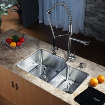 Kraus Kitchen Combo Series KHU12332KPF1602KSD30CH - Kitchen Sink and Faucet Combo