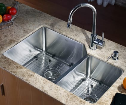 Kraus Kitchen Combo Series KHU12332KPF1622KSD30CH - Kitchen Sink and Faucet Combo