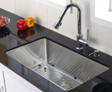 Kraus Kitchen Combo Series KHU10030KPF1650KSD30CH - Single Bowl Stainless Steel Sink