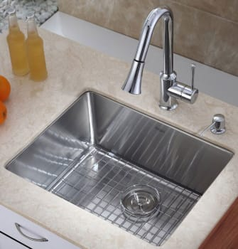 "Kraus Kitchen Combo Series KHU10123KPF1650KSD30CH - 23"" Stainless Steel Sink"
