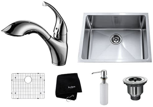 Kraus Kitchen Combo Series KHU10123KPF2210KSD30CH - Chrome Faucet