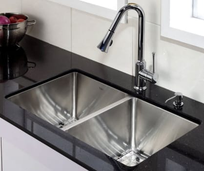 Kraus Kitchen Combo Series KHU10233KPF1650KSD30CH - 50/50 Double Bowl Kitchen Sink