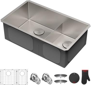 Kraus Khu10332 32 Inch Undermount Double Bowl Kitchen Sink With