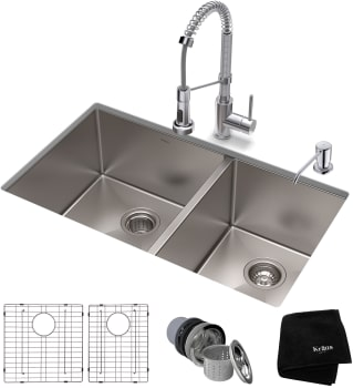 f8965e0180 Kraus KHU10333161053CH 33 Inch Stainless Steel Double Sink and ...