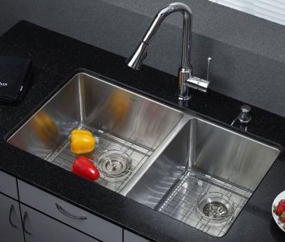 """Kraus Kitchen Combo Series KHU10333KPF1650KSD30CH - 33\"""" Double Bowl Sink"""