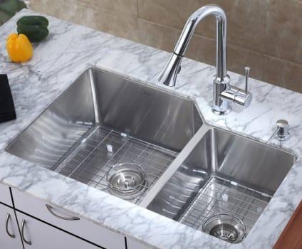 """Kraus Kitchen Combo Series KHU12332KPF1650KSD30CH - 33"""" Double Bowl Sink"""