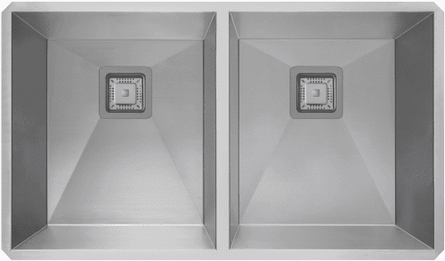 """Kraus Pax Series KHU322 - 31 1/2"""" Pax Zero Radius Handmade Undermount Double Bowl Kitchen Sink in 16 Gauge Stainless Steel"""